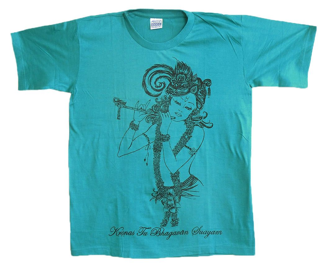 a35e3f76 Krishna Print on Cyan Blue T-Shirt | Religious Apparel from India ...