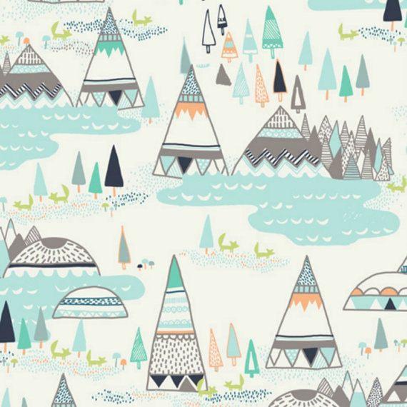 Indian Summer Woodland Pine In Spirit Lake Palette By Sarah Watson Art Gallery Fabrics Modern Novelty Quilting Fabric