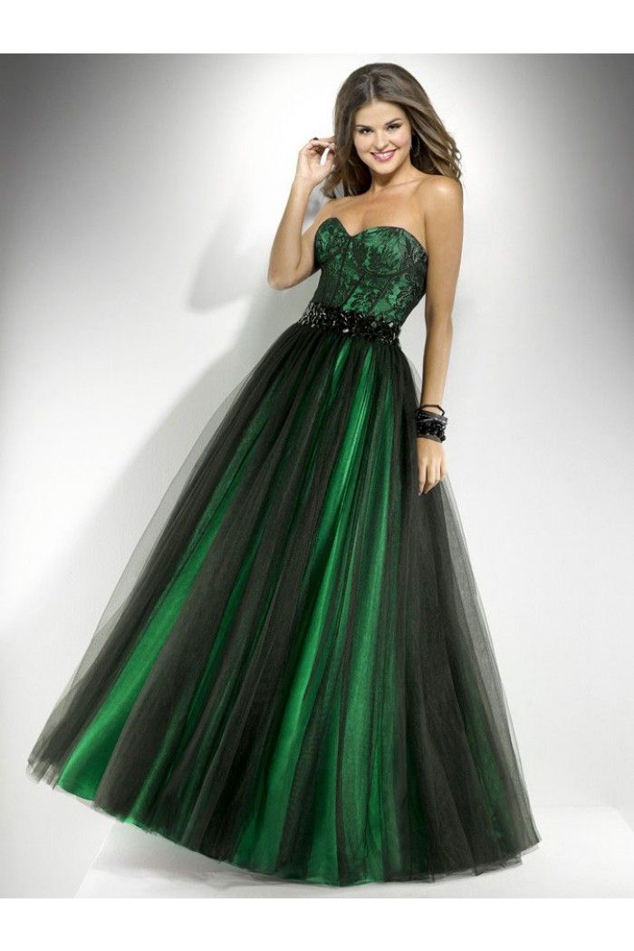 Ball Gown Sweetheart Long Green Satin Black Tulle Lace Prom Dress ...