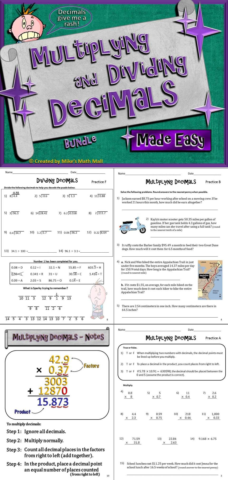 worksheet Dividing Decimals Word Problems Worksheet multiplying and dividing decimals made easy bundled unit your students will enjoy this that explains with lots of