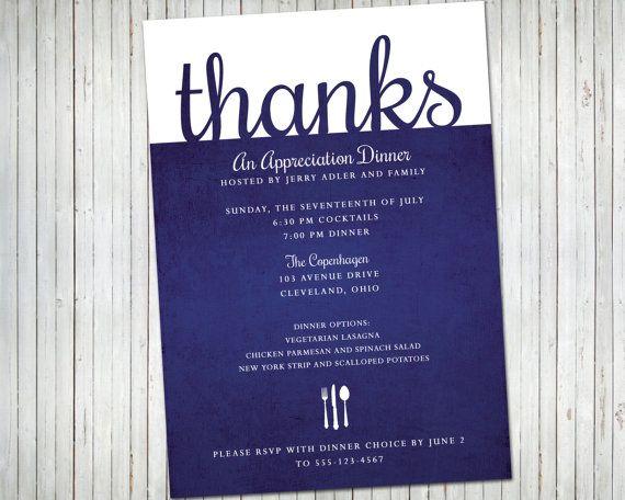 Appreciation Dinner Or Lunch Party Invitation Editable