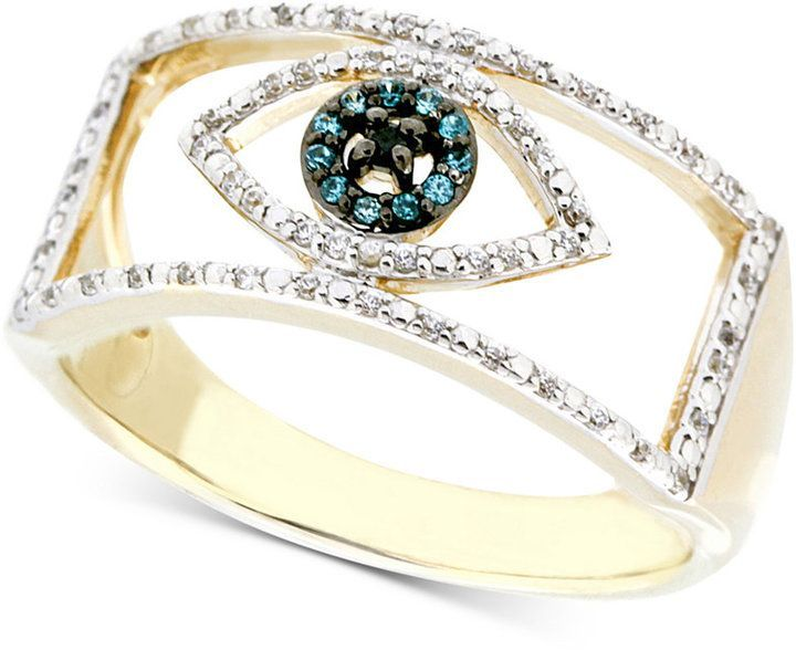 Wrapped Diamond Evil Eye Ring 1 6 Ct T W In 10k Gold Created