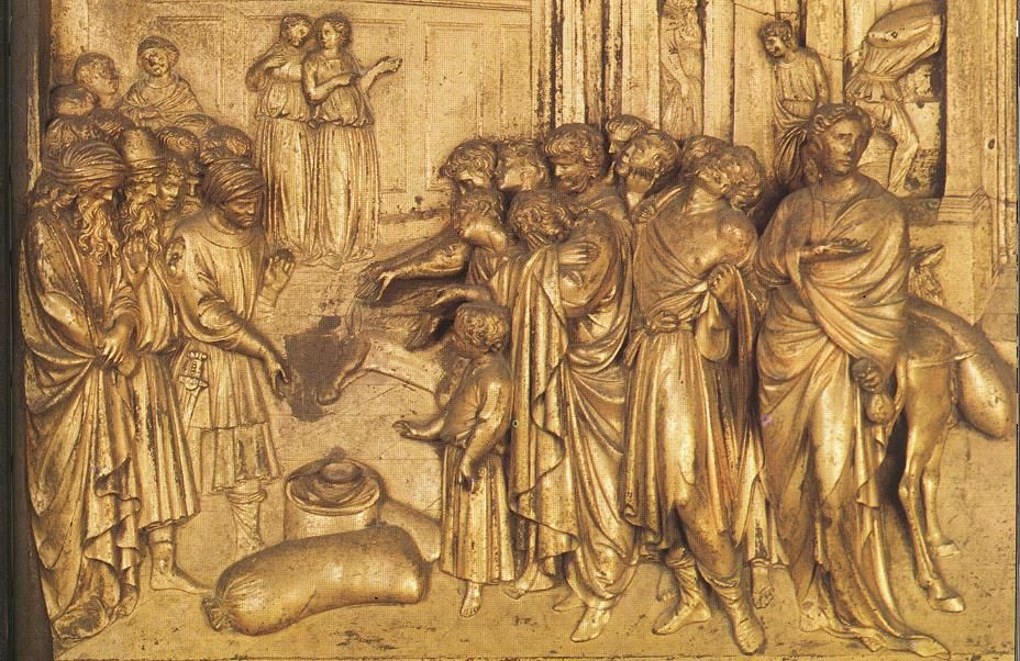 Discovery of the Golden Cup (detail) 1425-52   Gilded bronze   Baptistry, Florence   Lorenzo Ghiberti