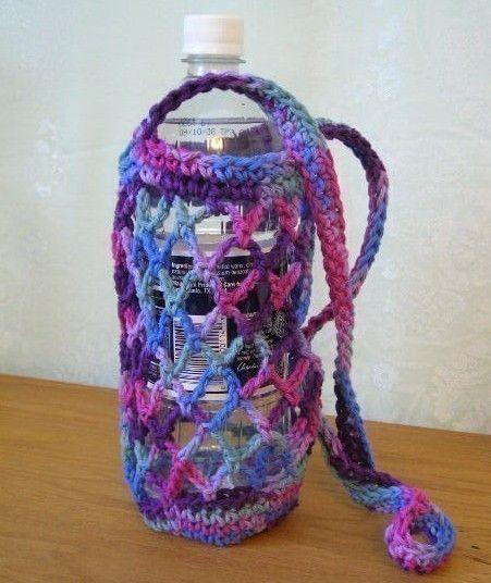 Crochet Pattern PDF for Water Bottle Carrier Holder by timaryart Hakeln P...