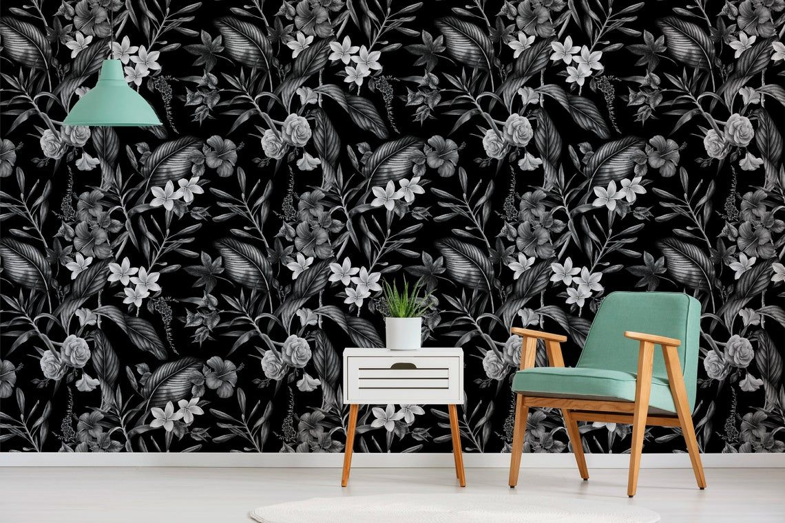 Removable Wallpaper Peel And Stick Wallpaper Wall Paper Wall Mural Grayscale Tropical Wallpaper A382 Wall Wallpaper Removable Wallpaper Peel And Stick Wallpaper