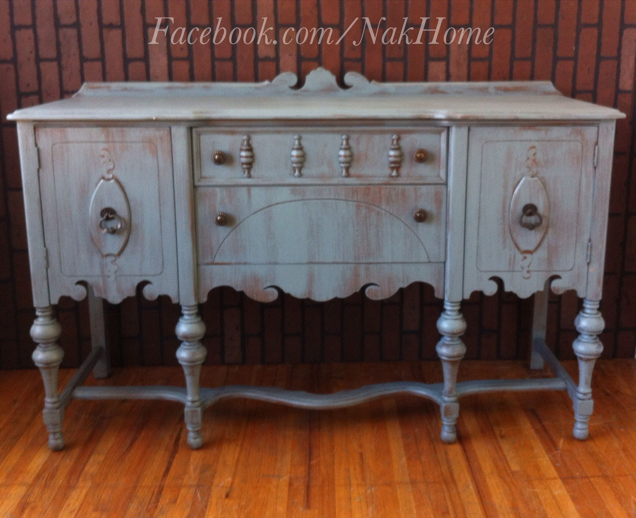 Furniture Makeover Shabby Chic Blue Gray Vintage Buffet Tv Console Credenza Hand  Painted With Homeade DIY