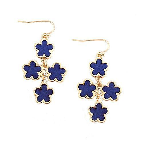 Royal Blue Five Leaf Four Flowers Gold Earrings