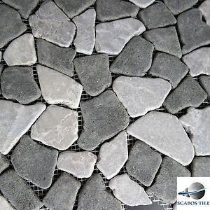 grey pebble tile tan grey mosaic pebble stone wall floor tile