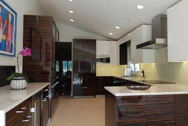 Contemporary Kitchen High Gloss Madagascar Veneer Wood Kitchen Cabinets Kitchen Decor Kitchen Design