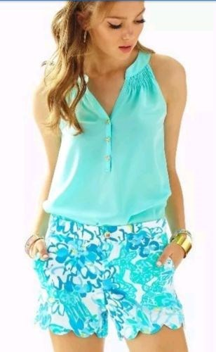 37.39$  Watch now - http://vitkl.justgood.pw/vig/item.php?t=v3vkykx26879 - Lilly Pulitzer NWT Buttercup Scallop Hem Shorts Resort White in a Pinch $68 sz00