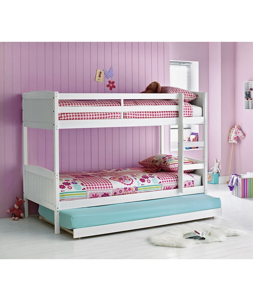 Home Detachable White Bunk Bed With Trundle Bunk Bed