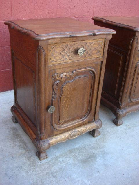 antique french 19001910s carved oak nightstands antique french nightstands pinterest oak nightstand and nightstands
