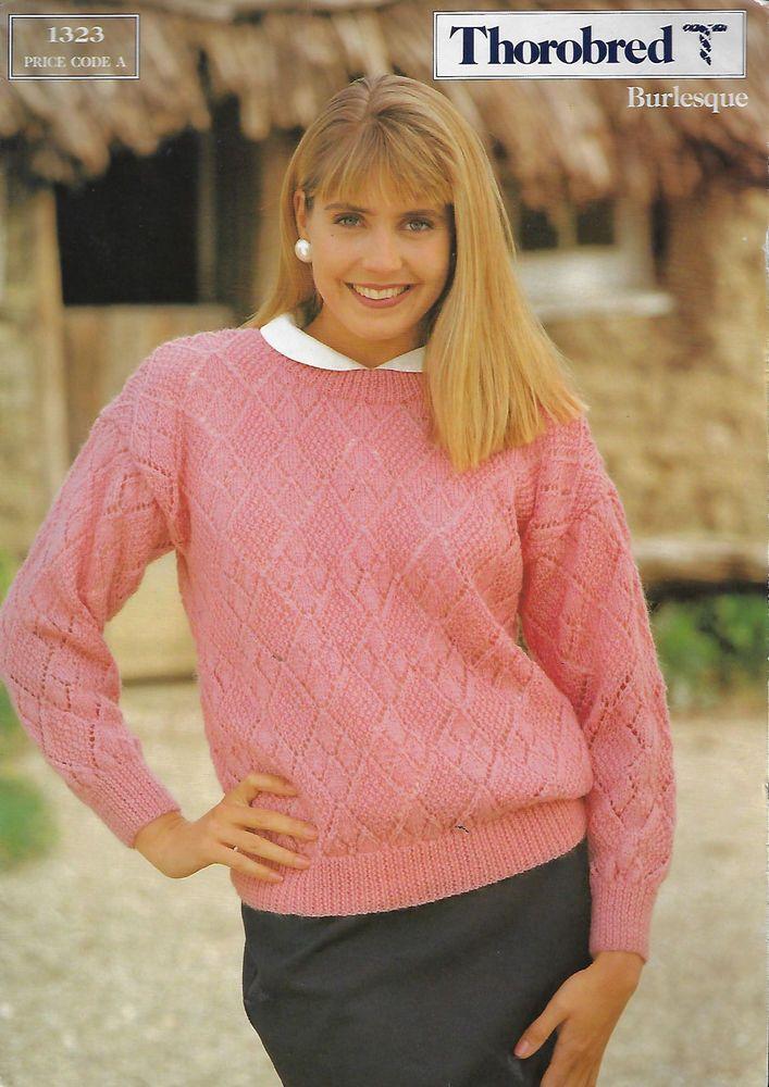 Woman Diamond Lace Sweater Thorobred 1323 knitting pattern 8 ply ...