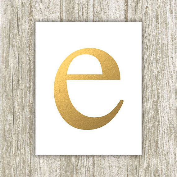 Gold Letter E Printable, 8x10, Instant Download, Initial E, E