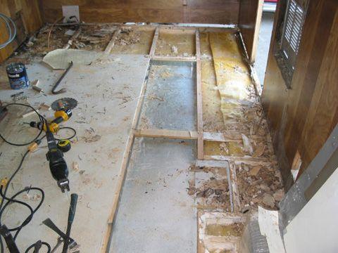 Rv Trailer Floor Damage Continued Rv Trailers Camper Repair