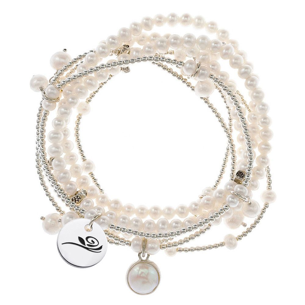 Alpha gamma delta symbol stretch bracelet with 7 strands of alpha gamma delta symbol stretch bracelet with 7 strands of freshwater pearls and sterling silver buycottarizona Gallery