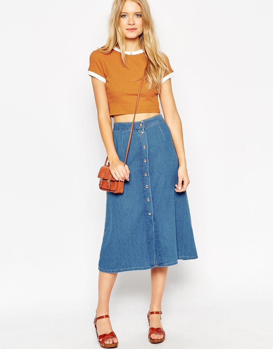 79cdc9042 Image 1 of ASOS Denim Button Through Western Midi Skirt | colour ...