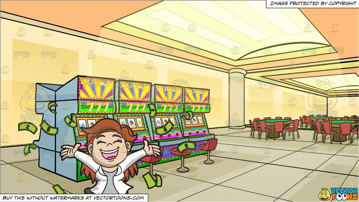 A Joyful Woman Celebrating Her Riches and A Casino With