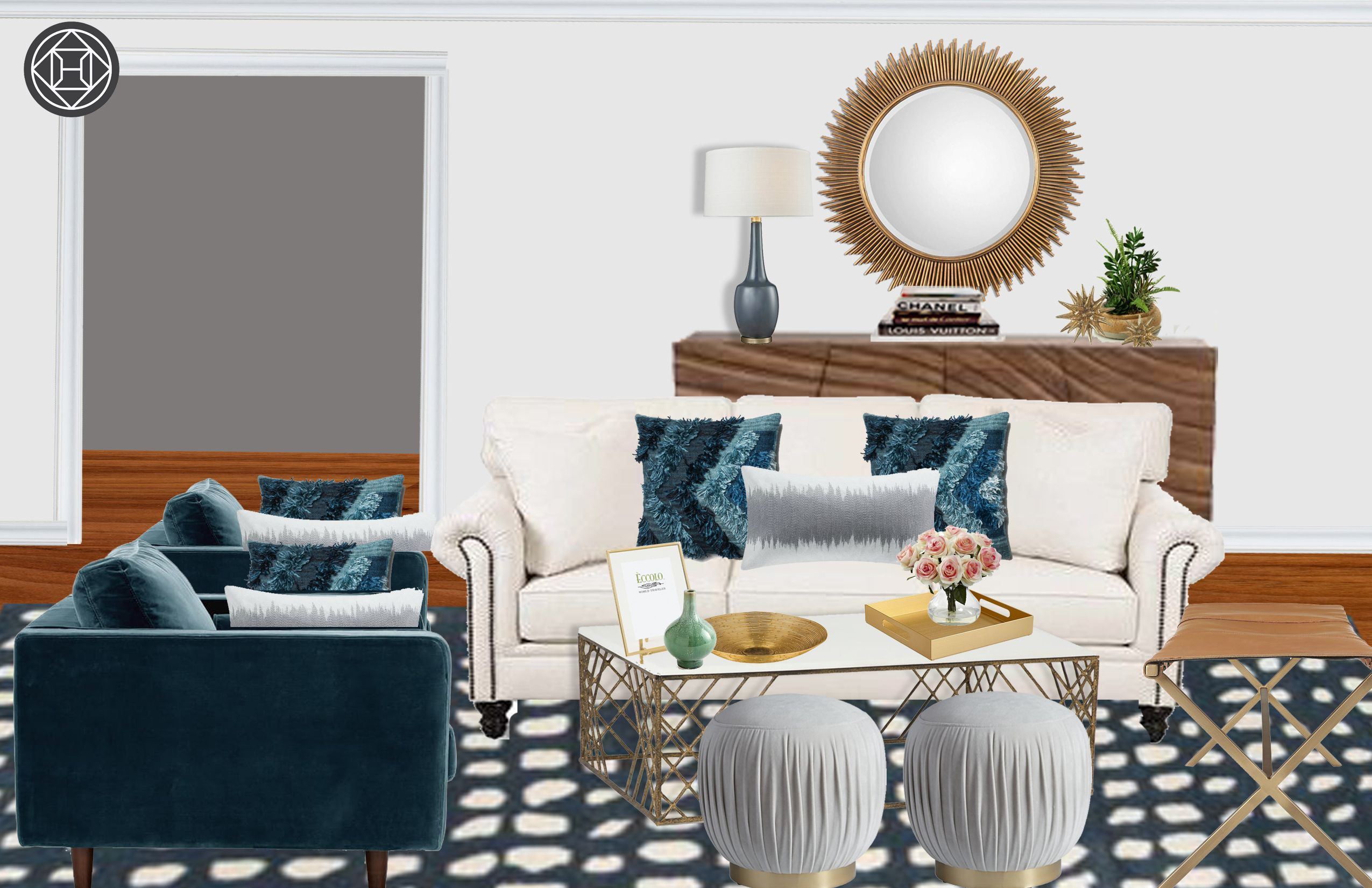 Modern, Classic, Coastal, Glam, Traditional Living Room Design By Havenly