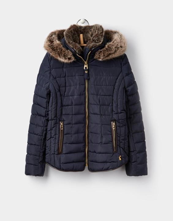 244e0123f1e5a Joules US GOSFIELD Older Girls Padded Jacket 3-12yr Marine Navy | My ...
