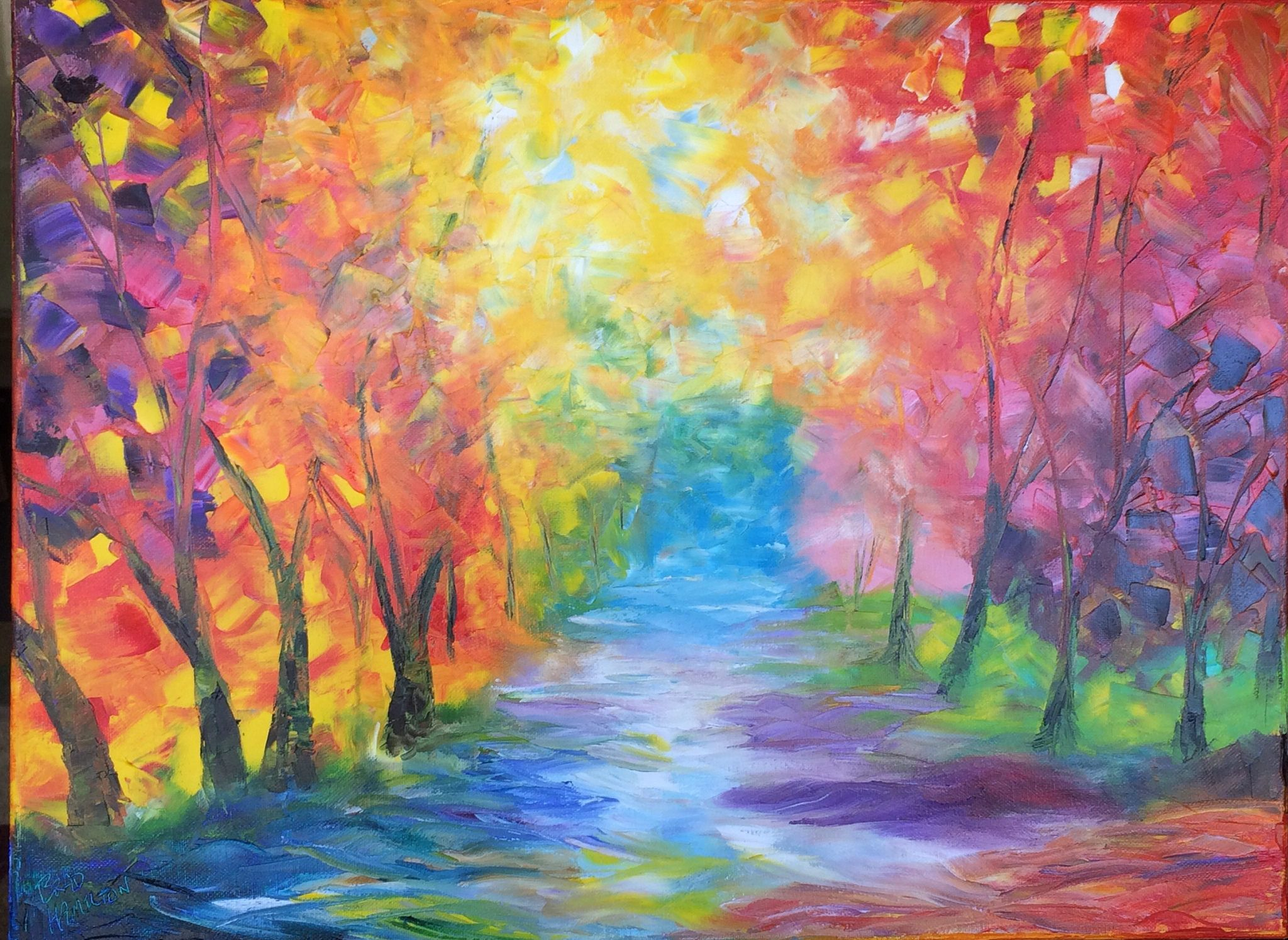 https://flic.kr/p/rHLqay | Fall colors | This is a 16x20 oil painting done by palette knife inspired by Leonid Afremov.