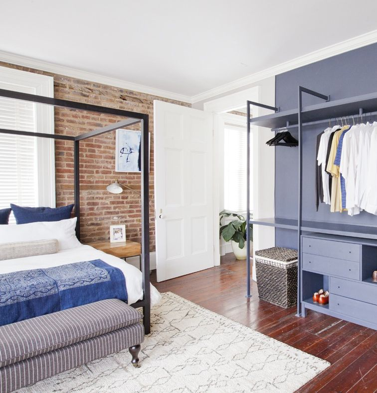Transitional Bedroom Design Surya Rug Room And Board Architecture Bed Vintage Linens Exposed Brick Neutral