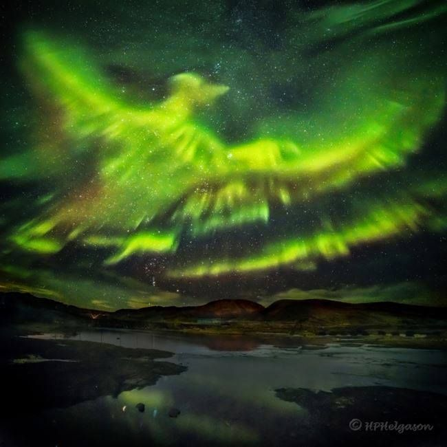In Iceland on a quiet night last September much of that nights auroras had died down. Suddenly though a new burst of particles streamed down from space lighting up the Earths atmosphere once again .jpg