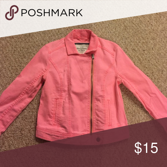Abercrombie pink jean jacket Great condition, super cute! Abercrombie & Fitch Jackets & Coats Jean Jackets