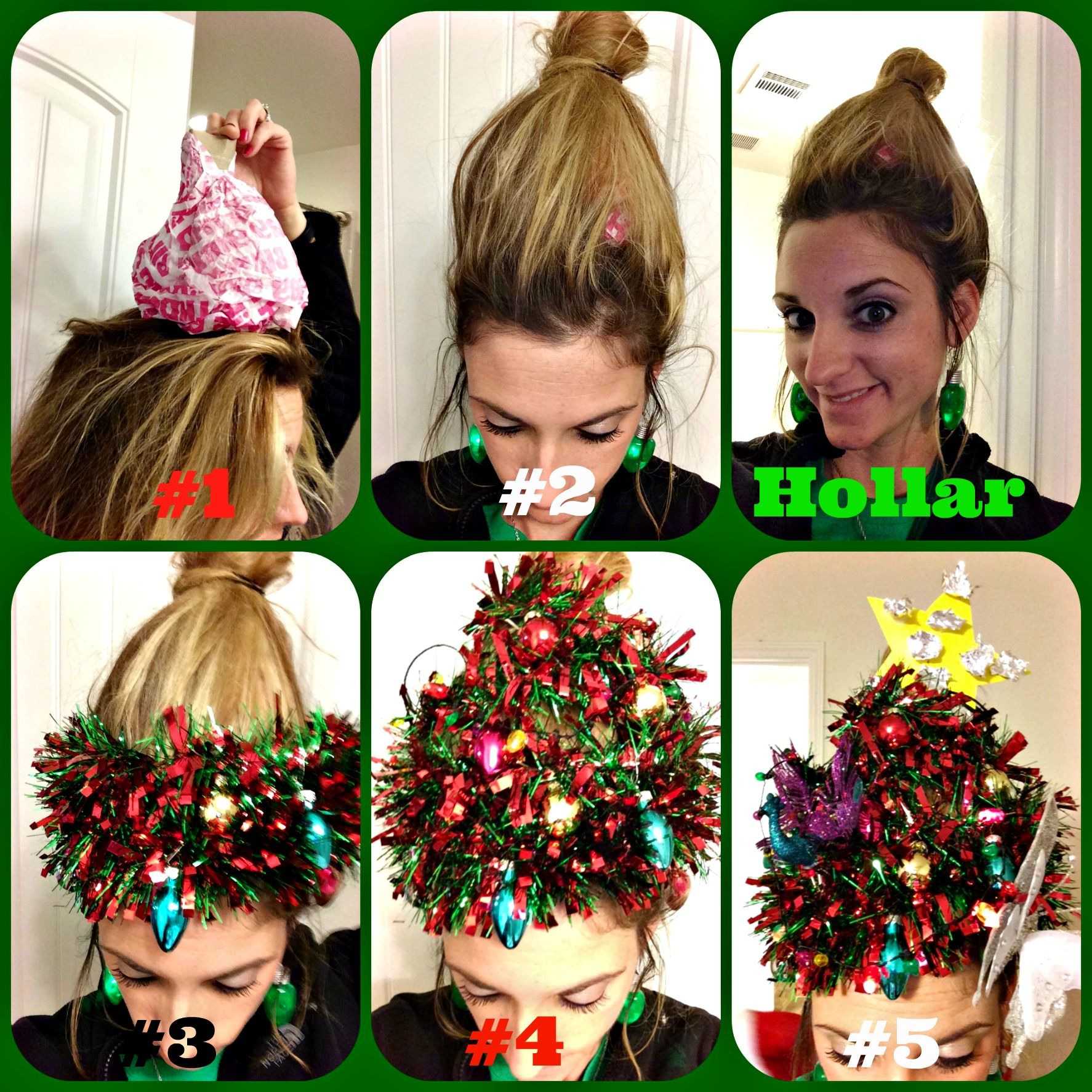 Christmas Tree Fro Holiday Hair How To Christmas Hair Christmas Tree Hair Holiday Hairstyles