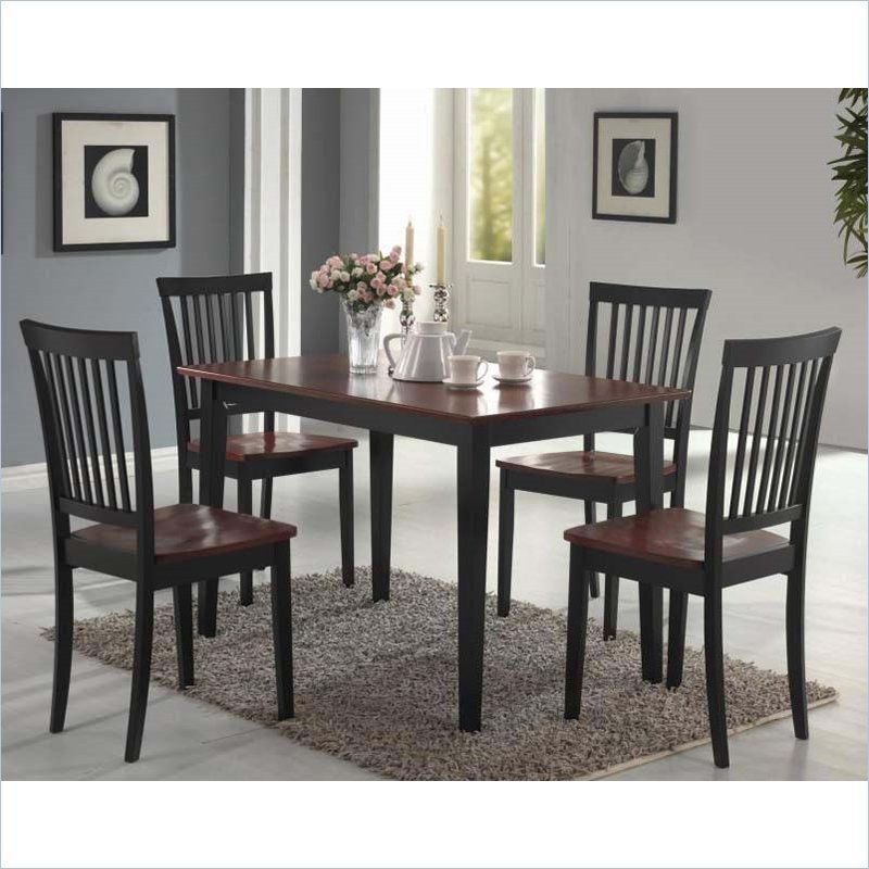 5 Piece Dining Set In Two Tone Dark And Cherry Finish Dining