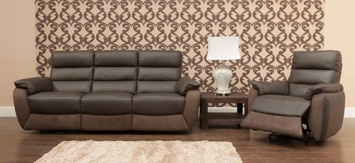 Ritz 3 Seater Recliner 2 Ritz 1 Seater Recliners Espresso Brown Brown Fabric Sofa Sofa Set Espresso Brown