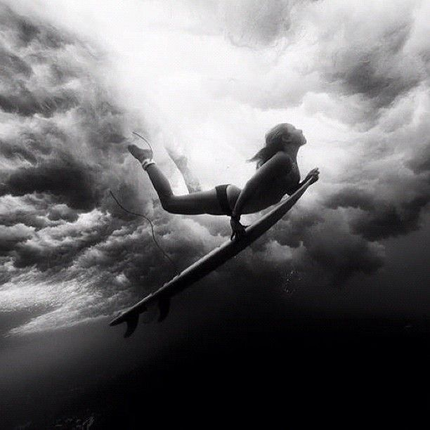 Black & White Girl Surfing