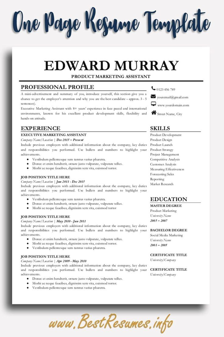 One page resume template. Check this simple one page