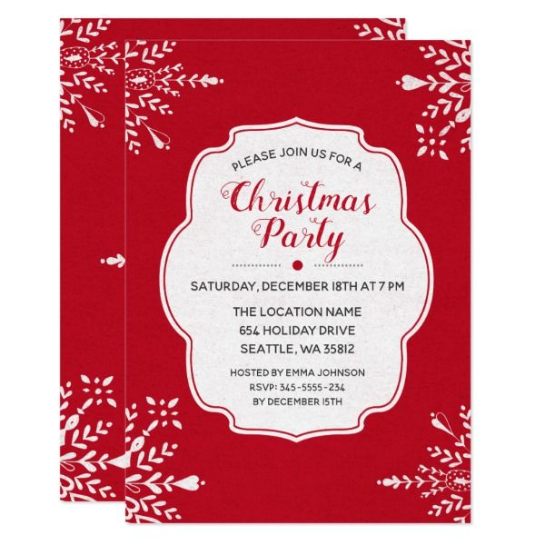 Red with snowflakes christmas party invitation custom red with snowflakes christmas party invitation custom invitations christmas snowflakes stationary stopboris Image collections