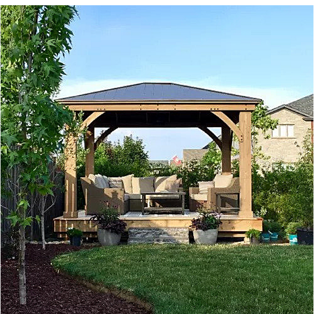 The Sun Is Shining And The Birds Are Chirping It S Time To Enjoy The Backyard Nuzzinstein From Paris Ontario Has Built A Deck Gazebo Backyard Backyard Plan