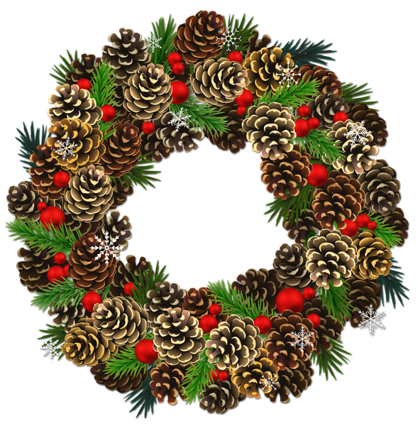 Transparent Christmas Pinecone Wreath Png Clipart Christmas Wreaths Christmas Trimmings Wreaths