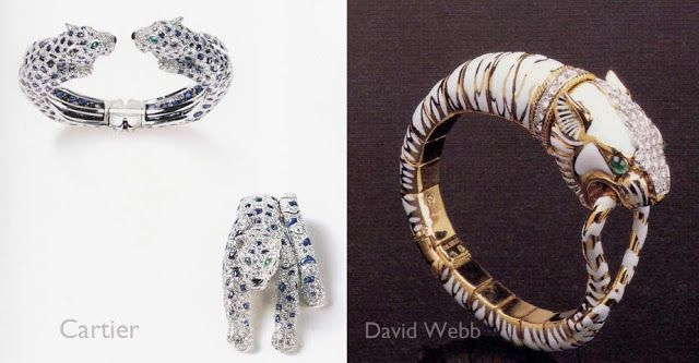 Paris Originals ®: David Webb and The French Connection (left) Cartier panther bracelet 1958, and Cartier panther brooch 1958, both white gold,  sapphires, diamonds with  emerald eyes.,   Note: Cartier's first panther motif appears as early as 1914. (right) David Webb bracelet  yellow gold, enamel . diamonds, platinum, and emerald
