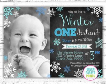 Boys Winter Onederland Invitation Digital by greenpapayaprints