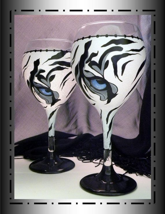 Wine Glass Decorated With A Tiger