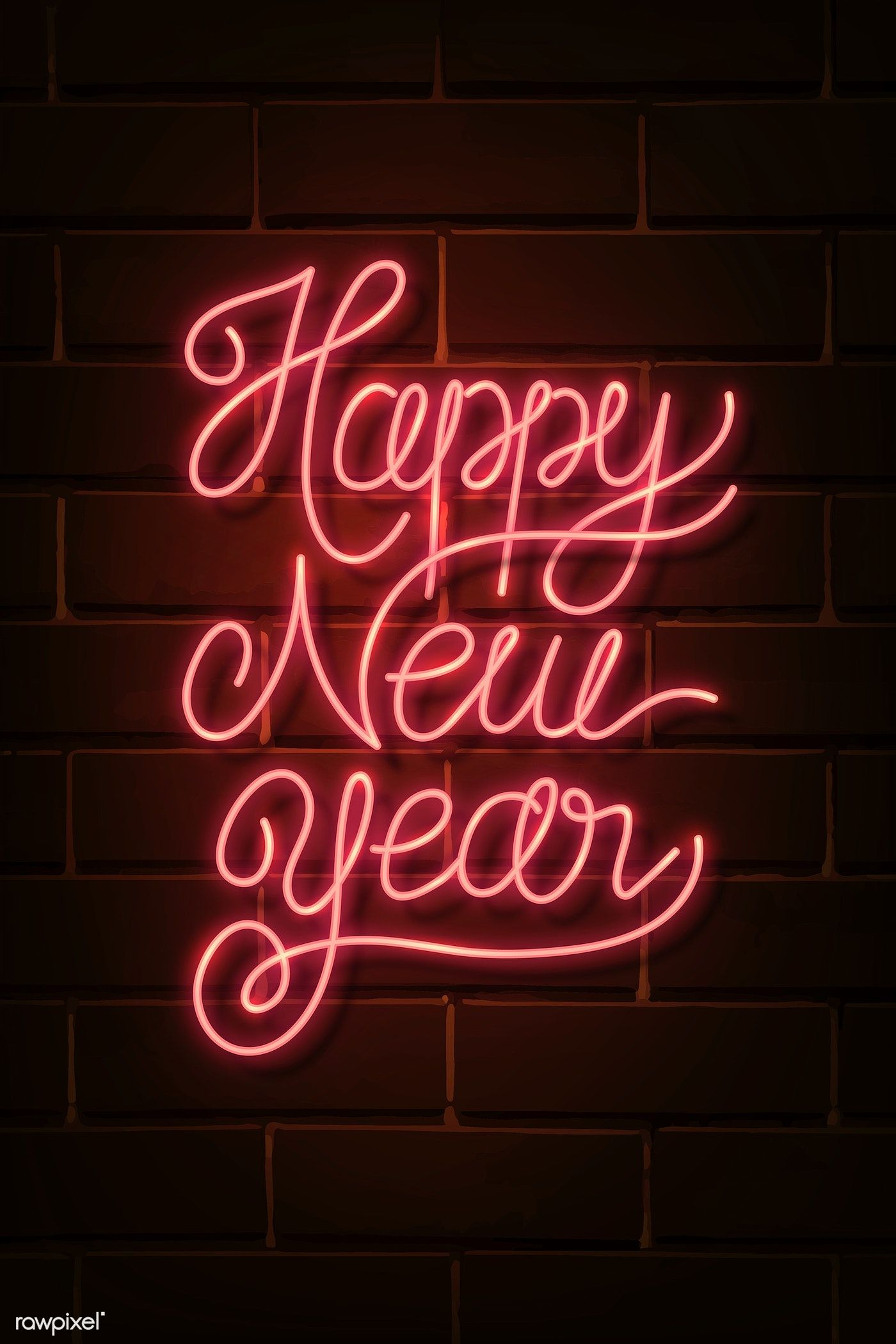Download free illustration of Neon bright happy new year sign 1232168