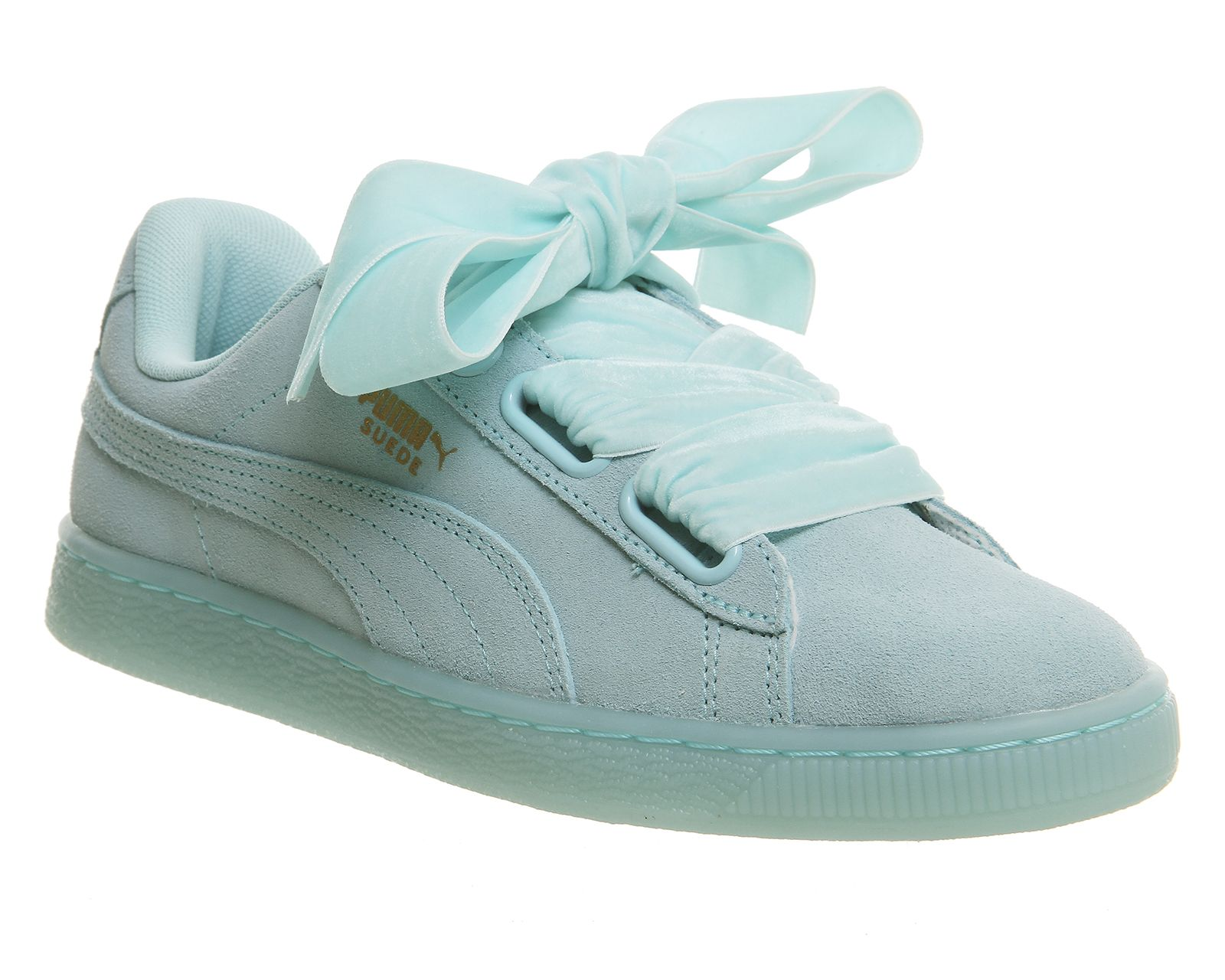 the latest e2351 3bc2c Puma Prism Heart Suede Heart Trainers in Mint Green | Back ...