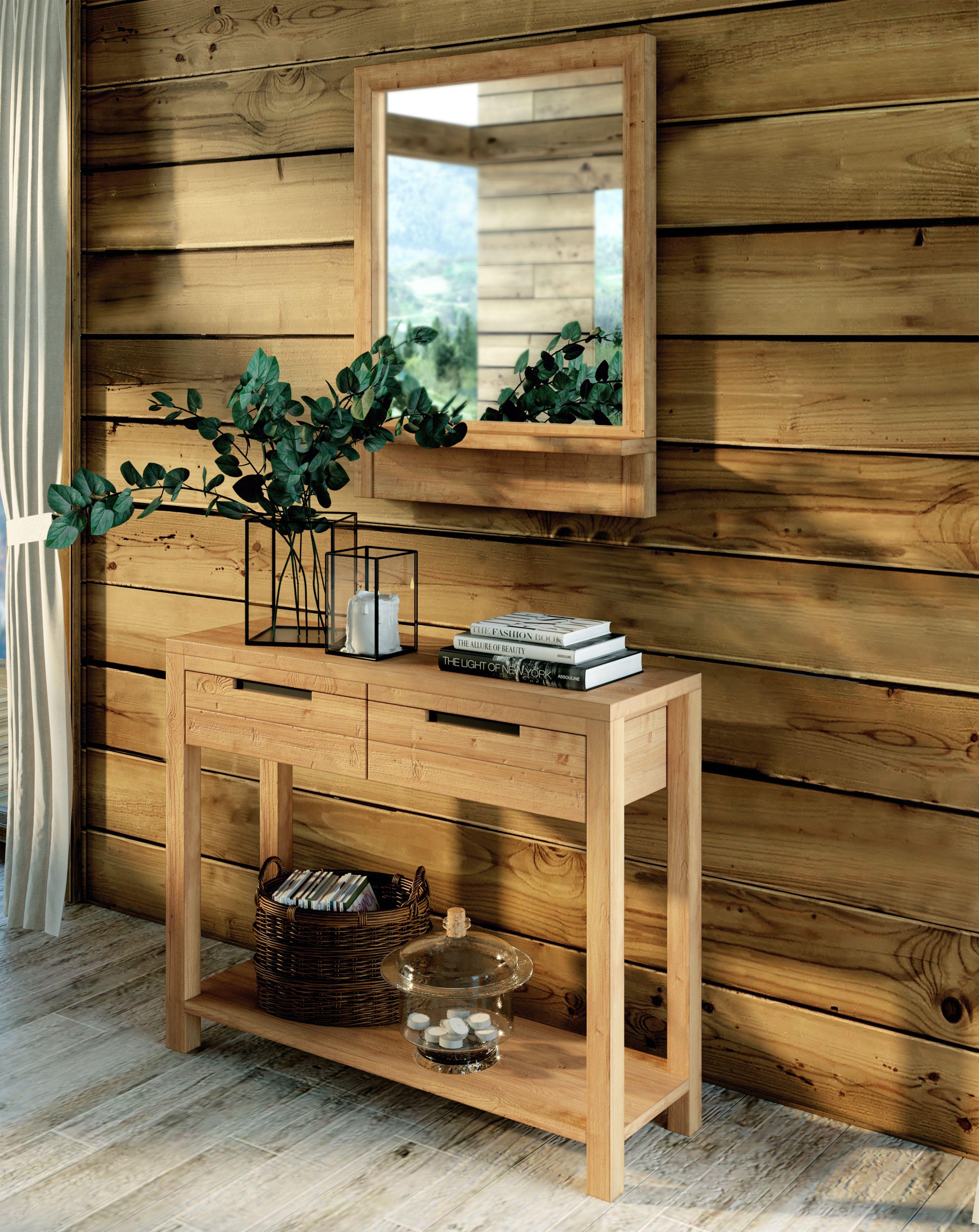 Un Entree Type Chalet Avec Une Jolie Console Un Grand Miroir Et Une Belle Plante Decoration Maison Console Console Style