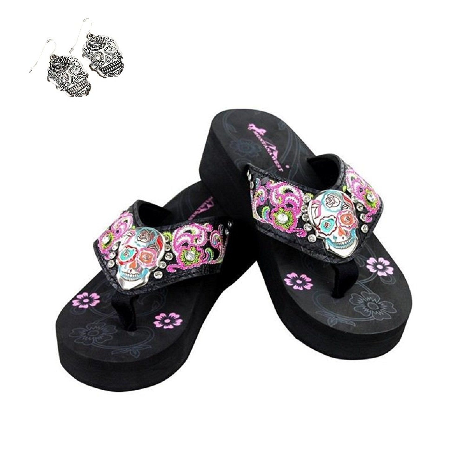 af8421e5a0e3 Montana west rhinestone sugar skull flower flip flops sandals shoes  earrings read jpg 1500x1500 Skull baby