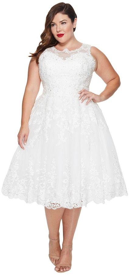 1fdcc49e8102 Unique Vintage Plus Size Riviera Lace & Tulle Bridal Dress ...