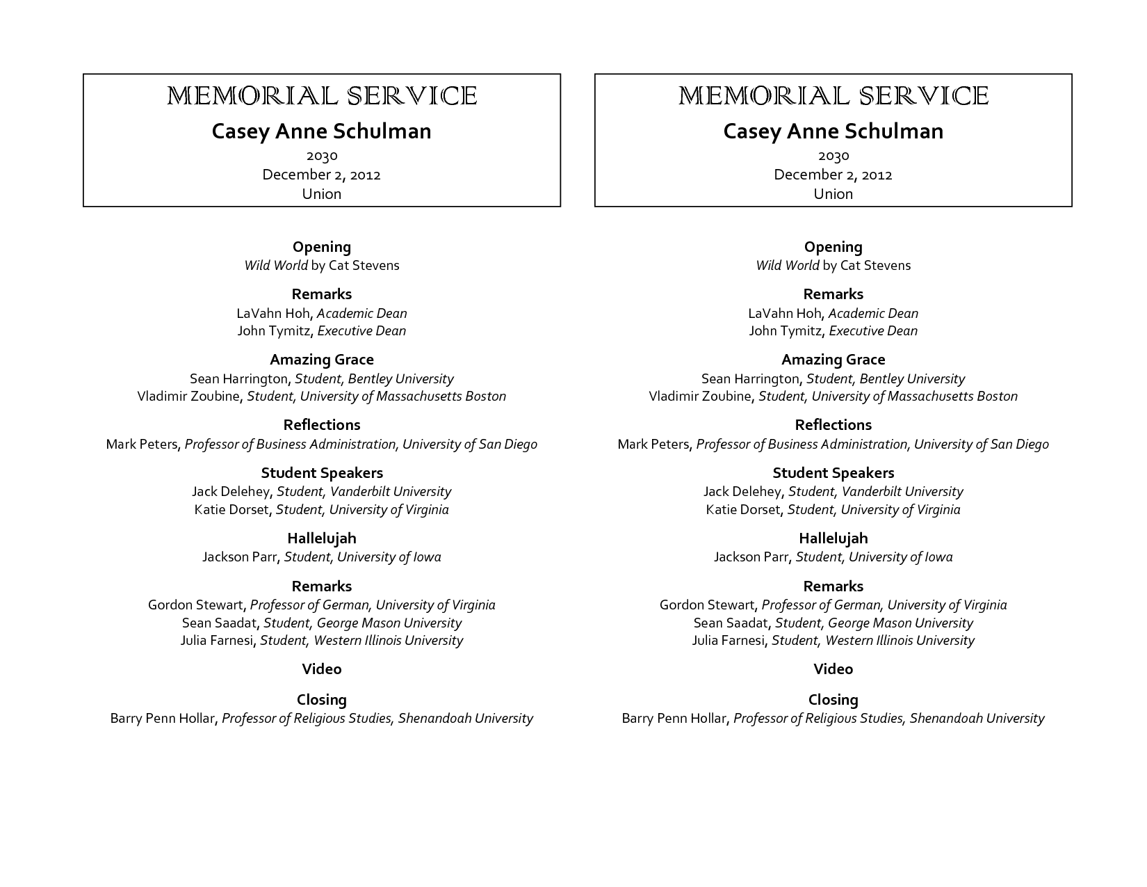 Memorial Service Programs Sample  Onboard Memorial Service