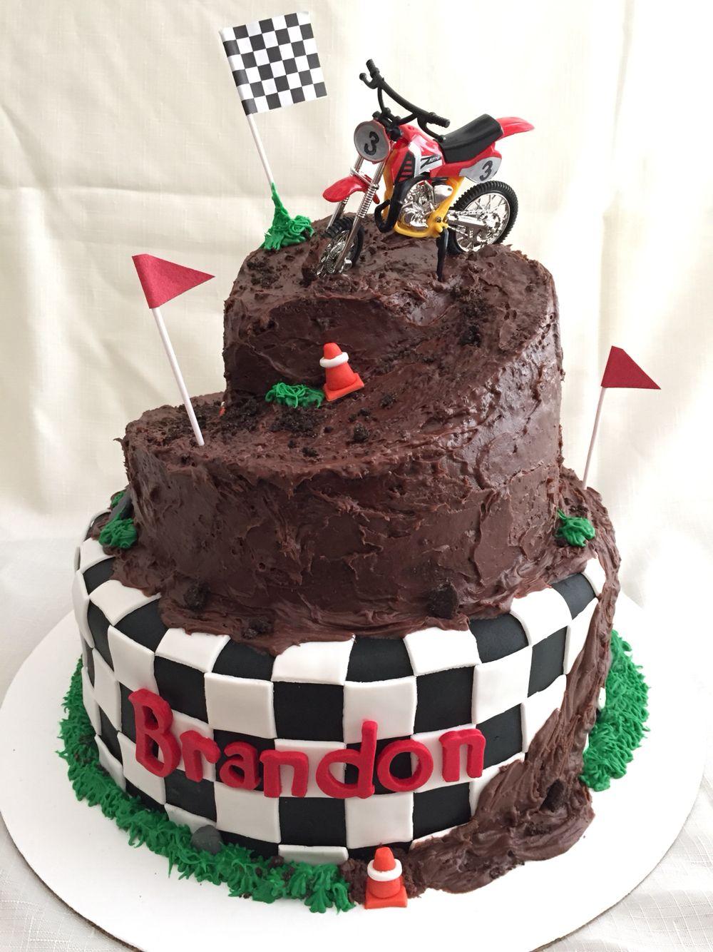 Dirt bike fondant Birthday Cake