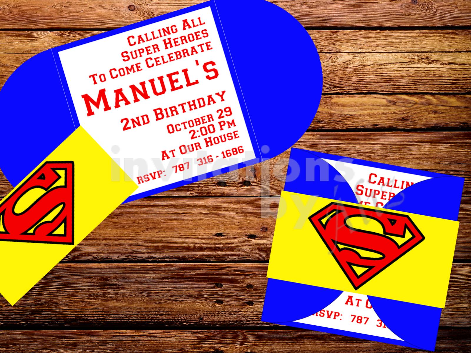 Invitación Superman. Hecha a mano. Personalizada.   Handmade cards ...