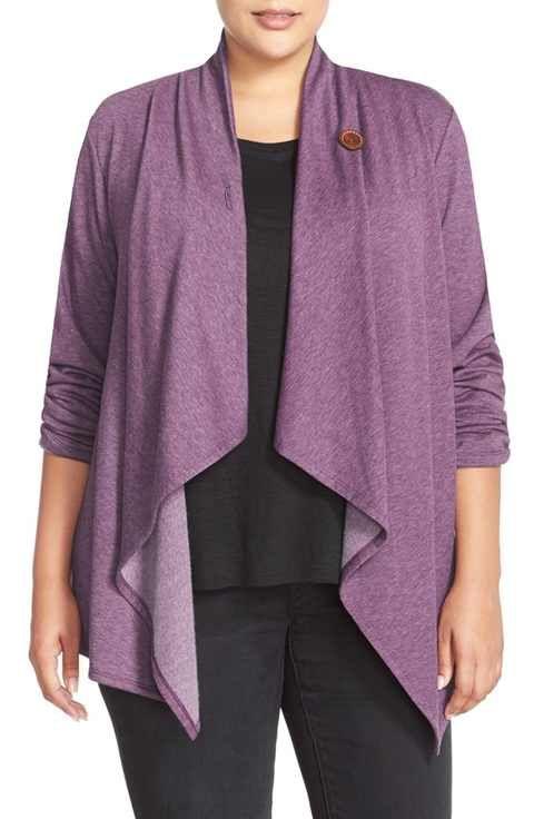 Bobeau One-Button Fleece Cardigan (Plus Size) | FASHION / PLUS ...