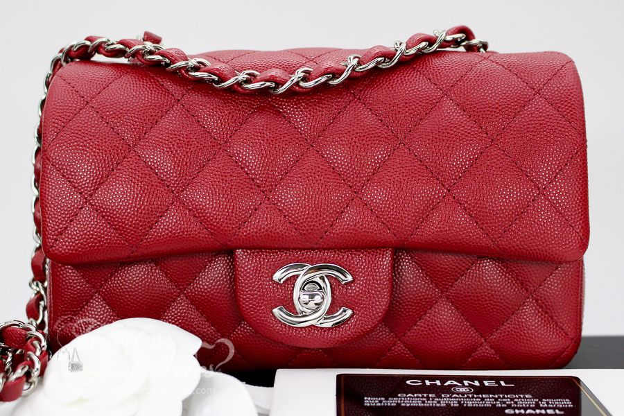 dff8b9e64970 Timeless Luxuries - CHANEL 17B Dk Red Caviar Rectangle Mini Flap Silver Hw