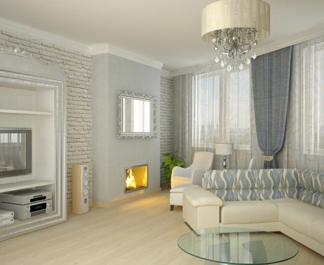 salon moderno blanco azul espejo diseo decoracion - Como Decorar Un Salon Moderno